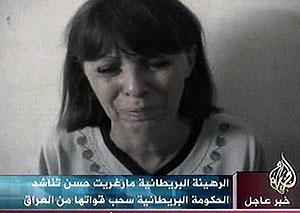 Fra videoen med Margaret Hassan. Foto: Al Jazeera