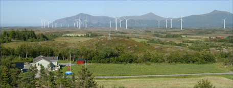 Færre vindmøller og større avstand til bebyggelse i Statkrafts nye planer. Fotomontasje: Statkraft