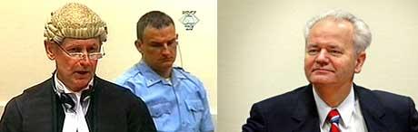 GAV OPP: De britiske advokatene Steven Kay (venstre) og Gillian Higgins har gitt opp å forsvare Jugoslavias ekspresident Slobodan Milosevic (høyre). (Foto: FNs krigsforbryterdomstol og AFP/Paul Vreeker)