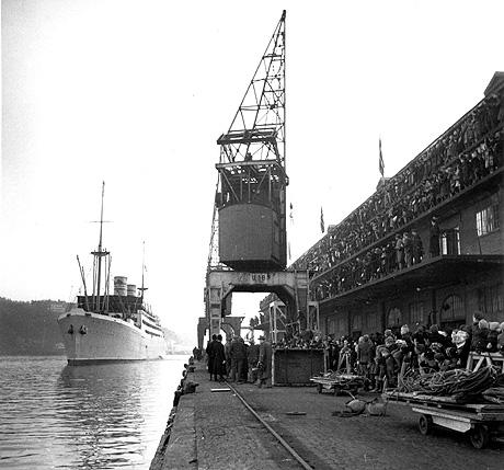 """Amerikabåten """"Stavangerfjord"""". Foto: NTB Arkiv"""