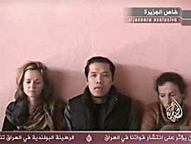 Dei tre gislane vart viste fram på Al Jazeera i dag. (Foto: Al Jazeera)
