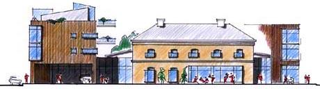 De nye bygningene i det gamle Rådhuskvartalet i Kongsberg. Fasade mot nord. Tegning: Meinich Arkitekter AS.