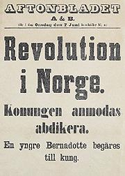 Svenskene reagerte med vantro over det norske 7. juni-vedtaket, og de fleste delte Aftonbladets oppfatning av at dette dreide seg om en revolusjon. Kilde: NBO