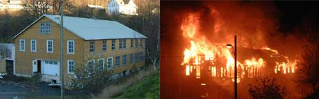 Den gamle Hauklandsfabrikken går opp i flammer