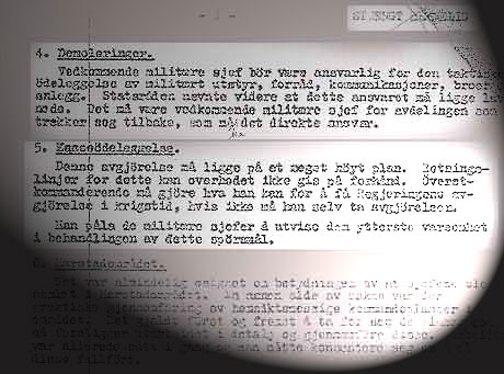 Møtereferatet fra 1951 sier at øverstkommanderende kunne ta en beslutning om masseødeleggelser i Finnmark, dersom regjeringen ikke kunne ta beslutningen.