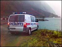 Raset gjekk på andre sida av fjorden. (MMS-foto: NRK)
