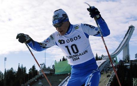 Kombinertløper Samppa Lajunen under verdenscuprennet i Holmenkollen februar 2004. Foto Scanpix.