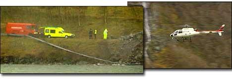 Dykkarar og helikopter leitar ved raset i Lånefjorden. foto Steinar Lote NRK