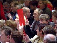 82 delegater stemte i mot forslaget. (Foto: NRK)