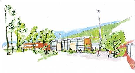 Fosshaugane Campus. (Illustrasjon: Ole A. Krogness for Arkitektkontoret 4B)