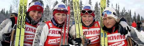 Marit Bjørgen, Hilde G Pedersen, Kine Beate Bjørnaas och Vibeke Skofterud. Foto: Anders Wiklund/SCANPIX SVERIGE.