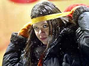 Ukrainas Grand Prix-vinner Ruslana vil gå til sultestreik i protest mot valgresultatet. Foto: Efrem Lukatsky, AP