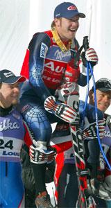 Bode Miller i midten., Antoine Deneriaz til venstre, og Michael Walchhofer til høyre. Foto: Scanpix.