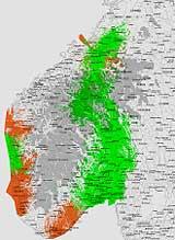 Dekningskart DAB i Sør-Norge etter at de nye senderne ble åpnet 30/11. Nye dekningsområder med rødt.