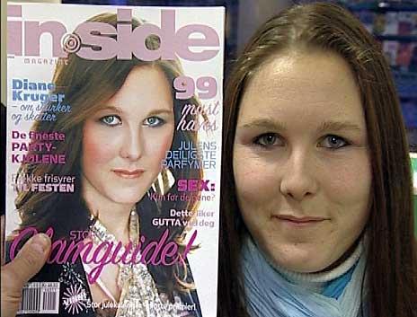 Lene Karin Eikemo slik hun så ut på forsiden av «Inside», og i virkeligheten.