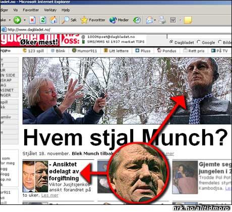"""Dagbladet 2/12: Forgiftning gjør at Ukrainas president er blitt helt lik en statue av Edvard Munch. Er det de samme folka som står bak?? (Innsendt av Klaus Sandvik, publisert på vår """"Ekte, rare mediaklipp""""-side)"""