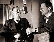 Alf Prøysen og Torbjørn Egner i Lørdagsbarnetimen (NRK)