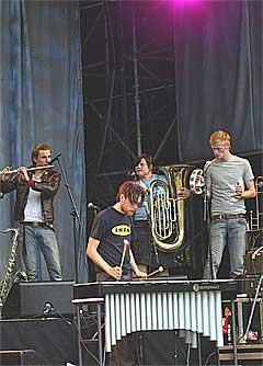 Jaga Jazzist, her på Norwegian Wood i 2002, skal på festival i England i sommer. Foto: Scanpix.
