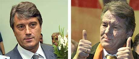 Bildet til venstre er tatt 6. juli 2004 (foto: AP/Scanpix). Bilde til høyre er tatt 3. desember 2004 (foto: Reuters/Scanpix).