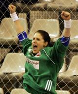 Kjersti Beck jubler etter seieren over Russland (Foto: Morten Holm, Scanpix)