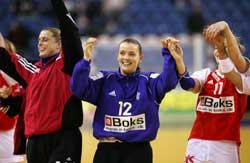 Danmark jublet etter å ha vunnet mot Frankrike. (Foto: Claus Fisker/Scanpix)