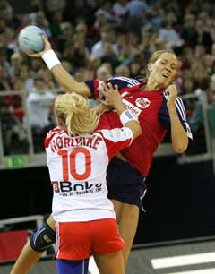 Gro Hammerseng og Norge møter Ungarn i VM-sluttspillet. (Foto: Morten Holm / SCANPIX)