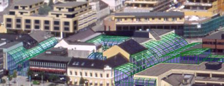 Dette er ikke byplanen, men plantegninger for et nytt kjøpesenter i Larvik sentrum, som skal dekke gatene med glasstak.
