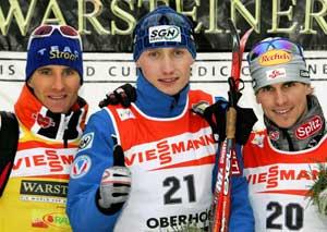 Trekløveret på topp i dag: Manninen (midten), Ackermann (venstre) og Gottwald (høyre). (Foto: AP / SCANPIX)