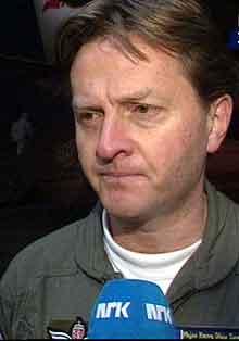 Flylege Hans Olav Samdal kom med ambulanseflyet til Gardermoen i dag tidlig. Foto: NRK