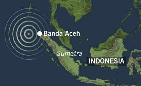 Senteret for jordskjelvet var utenfor provinshovedstaden Banda Aceh nord på Sumatra.