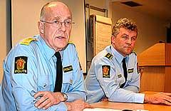 Politimester Bernt Fr. Moe (t.v)og sjef for kriminalenheten ved Salten politidistrikt, Jørgen Ingebrigtsen.