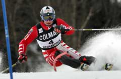 Giorgio Rocca på vei til seier i Chamonix for andre år på rad. (Foto: Reuters/Scanpix)