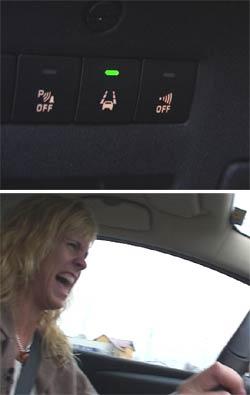 Vibrerende sete var denne bilens reaksjon på at vi krysset veibanen uten å bruke blinklys.