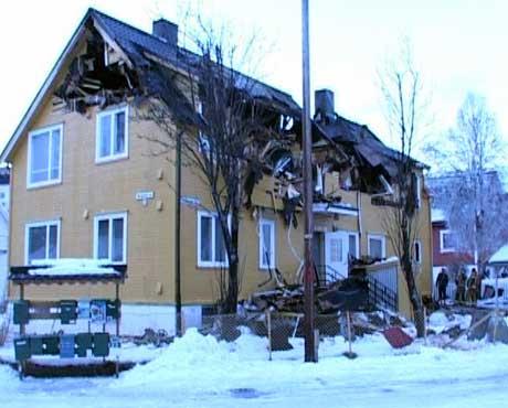 Dramatisk brann i Narvik i går. Foto: Kjell Mikalsen