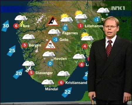 - ..og før jeg offentliggjør navnet på denne ukas storm, vil jeg gjerne presisere overfor min kone at det var Gislefoss og de andre meteorologene som valgte det! (Willy Haugvik)