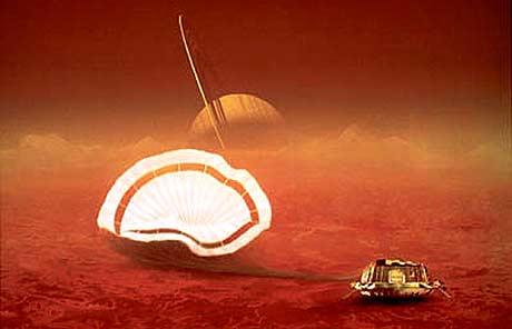 """""""Huygens"""" landar på Titan - kunstnarisk framstilt (AFP/ESA)"""