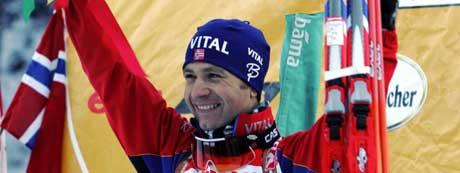 Ole Einar Bjørndalen tok sin 47. verdenscupseier i Ruhpolding. (Foto: Morten F. Holm / SCANPIX)