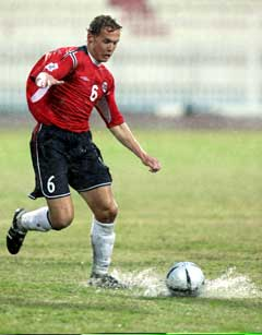 Øyvind Storflor under landskampen mellom Norge og Kuwait. (Foto: Erlend Aas / SCANPIX)