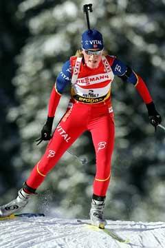 Tora Berger på vei til 2. plass på jaktstarten. (Foto: AP/Scanpix)