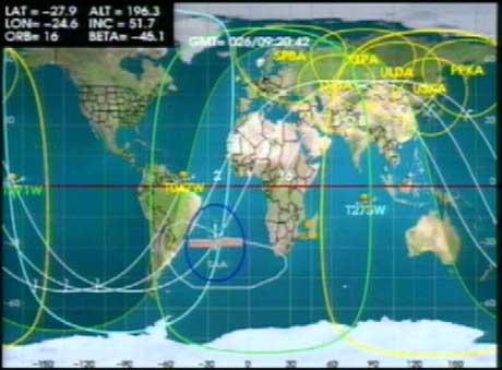 Romstasjonen befant seg over det sørlige Atlanterhavet, øst for Brasil, da arbeidet i verdensrommet startet i dag tidlig.