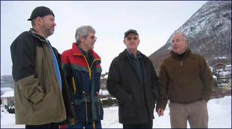 Johan Brandvik, Wollert Dankert Krohn, Oddvar Valle og Svein Olav Mordal i arbeidsgruppa for alternativt slakteri til Gilde. Foto: Gunnar Sandvik