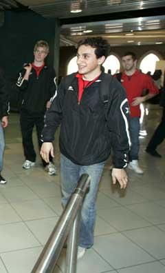 Ardian Gashi på flyplassen i Amman. (Foto: Erlend Aas / SCANPIX)