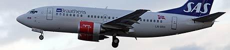 SAS Braathens fly kan bli satt på bakken i påsken. (Arkivfoto: Scanpix)