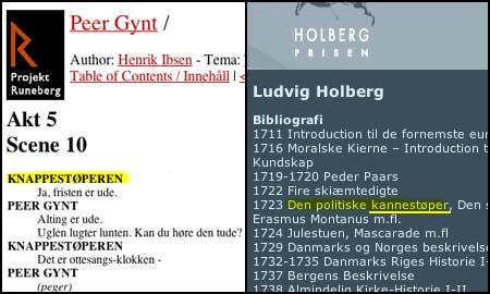 Til venstre: Ibsen. Til høyre: Holberg