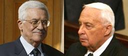Mahmoud Abbas (t.v.) og Ariel Sharon