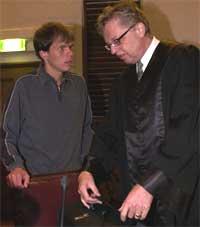 Truls Guttormsen sammen med forsvarer Odd Drevland under rettssaken i Gulating lagmannsrett. Foto: Marit Hommedal/Scanpix