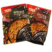 Rondane viltgryte fra Toro koster 20 kroner, mens Jegergryte fra Toro koster 10. Innholdet er nesten identisk.