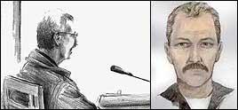 Tiltalte i rettssalen - teikna av Elin Fagertun og fantomteikninga av den såkalla haikaren.
