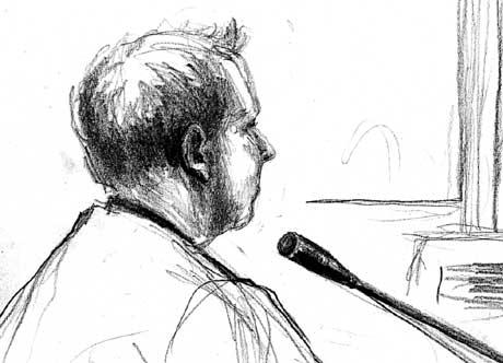 Stian Henriksen i retten. Teikning Elin Fagertun.