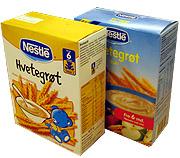 Hvetegrøt m/melk fra Nestlè til kr. 3,85 og Hvetegrøt m/frukt fra Nestlè til kr. 27,30.